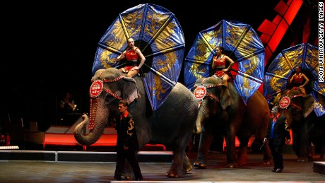Performers ride elephants during a live perfomance in 2007.