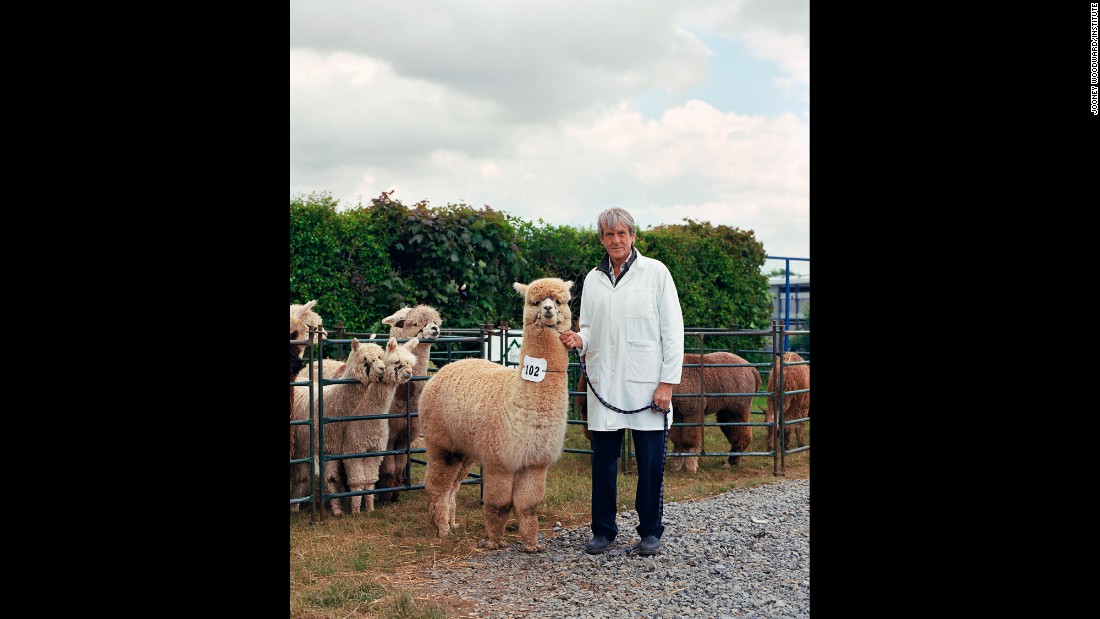 Andy with a male alpaca named Commander.