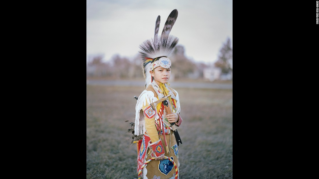A young boy named Stephen is dressed up during the Veterans Powwow at Montana's Fort Belknap Indian Reservation.