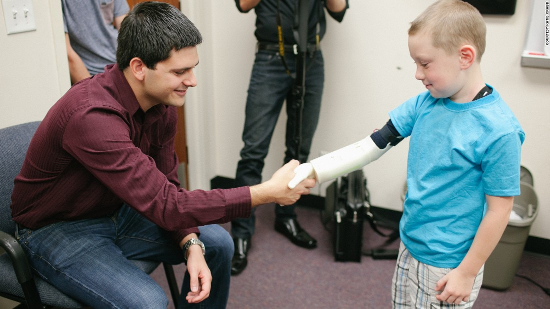 "<a href=""http://www.limbitless-solutions.org/"" target=""_blank"">Albert Manero and a team of engineering students</a> at University of Central Florida designed a prototype for an electronic arm. Six-year-old Alex Pring was the first recipient. Rather than profiting from the designs, the students uploaded them to the Internet for anyone to use."