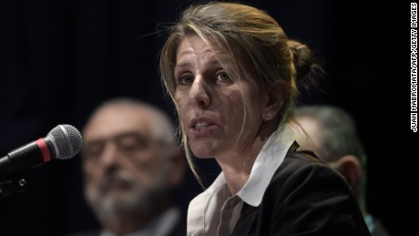rgentine federal judge Sandra Arroyo Salgado, ex-wife of Argentine late prosecutor Alberto Nisman, offers a press conference on the results of the parallel investigation she ordered into his death, in San Isidro, Buenos Aires, on March 5, 2015. Nisman died mysteriously after accusing Argentine president Cristina Fernandez de Kirchner of shielding Iranians suspected of ordering the bombing at a Buenos Aires Jewish centre in 1994. Nisman was found dead on January 18, 2015 in his Buenos Aires apartment of a gunshot wound to the head on the eve of congressional hearings where he was due to present his allegations about the president.