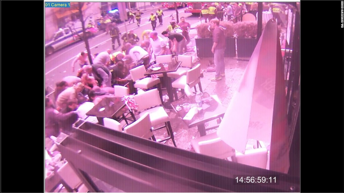 This image is from a surveillance camera outside the Forum restaurant in Boston's Copley Square just after the bombing.