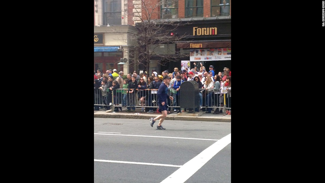 "Eight-year-old <a href=""http://www.cnn.com/2013/04/16/us/boston-boy-killed/"" target=""_blank"">Martin Richard, the youngest victim</a>, can be seen standing on the rail in the front row."