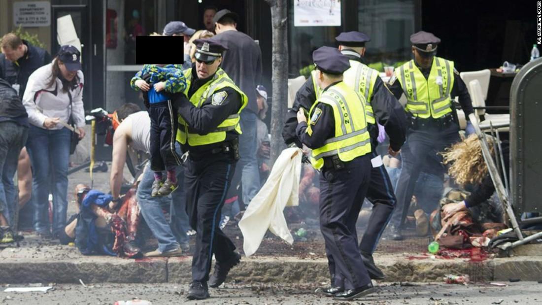 Mayhem along Boylston Street.