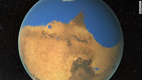 An artist's concept of what an ocean on Mars may have looked like.