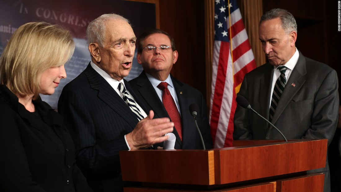 Sen. Frank Lautenberg (D-NJ) (second left) speaks as (left to right) Sen. Kirsten Gillibrand (D-NY), Sen. Robert Menendez (D-NJ), and Sen. Charles Schumer (D-NY) listen during a news conference after a vote on the Superstorm Sandy Relief Bill January 28, 2013 on Capitol Hill in Washington.