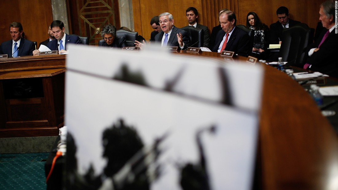 Sen. Robert Menendez (center) speaks during a hearing of the Senate Foreign Relations Western Hemisphere Subcommittee February 3, 2015 in Washington.