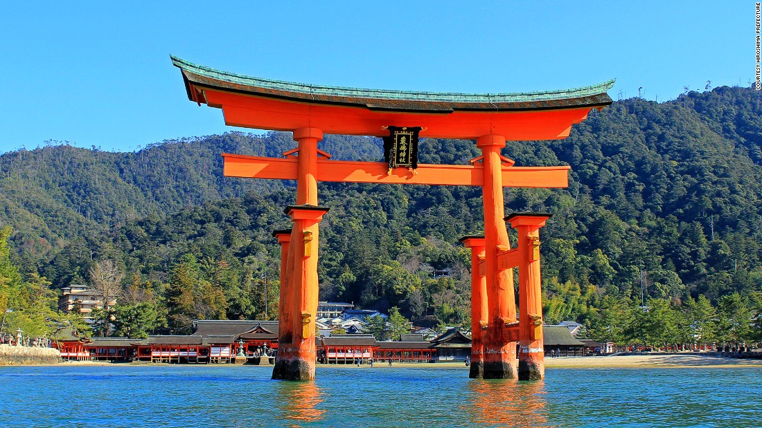 """Believed to be the boundary between the spirit and human worlds, the Otorii's vermilion color is said to keep evil spirits away. <br />It's possible to walk to it on the sand bar during low tide and enjoy the view of Mount Misen behind the gate. <br />At high tide, the 16-meter-high Torii appears to float on the water. <em><br /><a href=""""http://visit-miyajima-japan.com/en/culture-and-heritage/spiritual-heritage-temples-shrines/le-torii-flottant.html"""" target=""""_blank"""">Itsukushima Shrine</em></a><em>, 1-1 Miyajimacho, Hatsukaichi, Hiroshima, Japan; +81 829 44 2020</em>"""