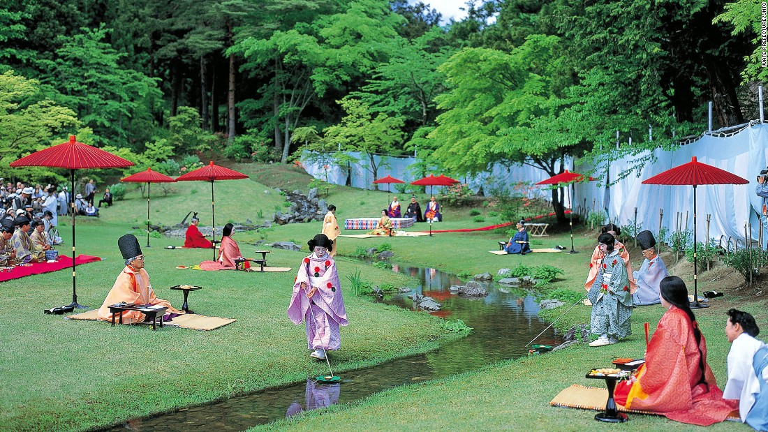 "On the fourth Sunday of May, Motsuji Temple invites poetry lovers to write by the stream of the temple's garden pond. <br />As they compose their verses, cups of sake float to them -- to help the float of inspiration, we assume. <br />The event is concluded with the master of ceremonies reading each poem aloud.<br /><a href=""http://edition.cnn.com/2016/05/17/travel/tohoku-natural-attractions/"">MORE: Tohoku travel: Beautiful scenes from Japan's most underrated region</a><br /><em><a href=""http://www.motsuji.or.jp/english/matsuri/data03.html"" target=""_blank"">Motsu-ji Temple</em></a><em>, 58 Osawa, Hiraizumi, Iwate, Japan; +81 191 46 2331</em>"
