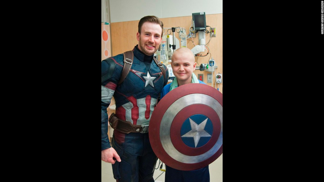 "The visit left an impression on Evans, too, who said the children were the ""true superheroes."""