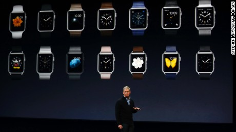 SAN FRANCISCO, CA - MARCH 9: Apple CEO Tim Cook debuts the Apple Watch collection during an Apple special event at the Yerba Buena Center for the Arts on March 9, 2015 in San Francisco, California. Apple Inc. is expected to unveil more details on the much anticipated Apple Watch, the tech giant's entry into the rapidly growing wearable technology segment. (Photo by Stephen Lam/Getty Images)