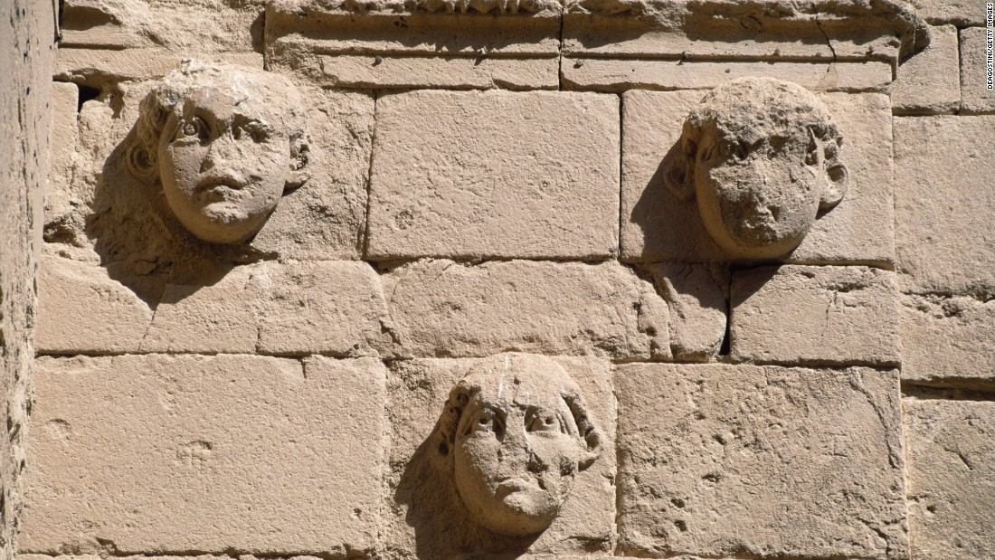 Bas-reliefs of masks in Hatra