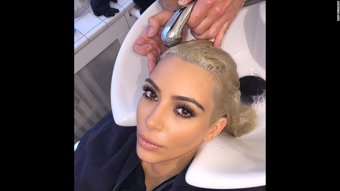 """It's hard out here for a platinum pimp,"" television personality Kim Kardashian <a href=""https://instagram.com/p/0AbNMvOS3m/?modal=true"" target=""_blank"">said on Instagram</a> on Monday, March 9. ""Thank you @FredericMennetrier for touching up my blonde!"""
