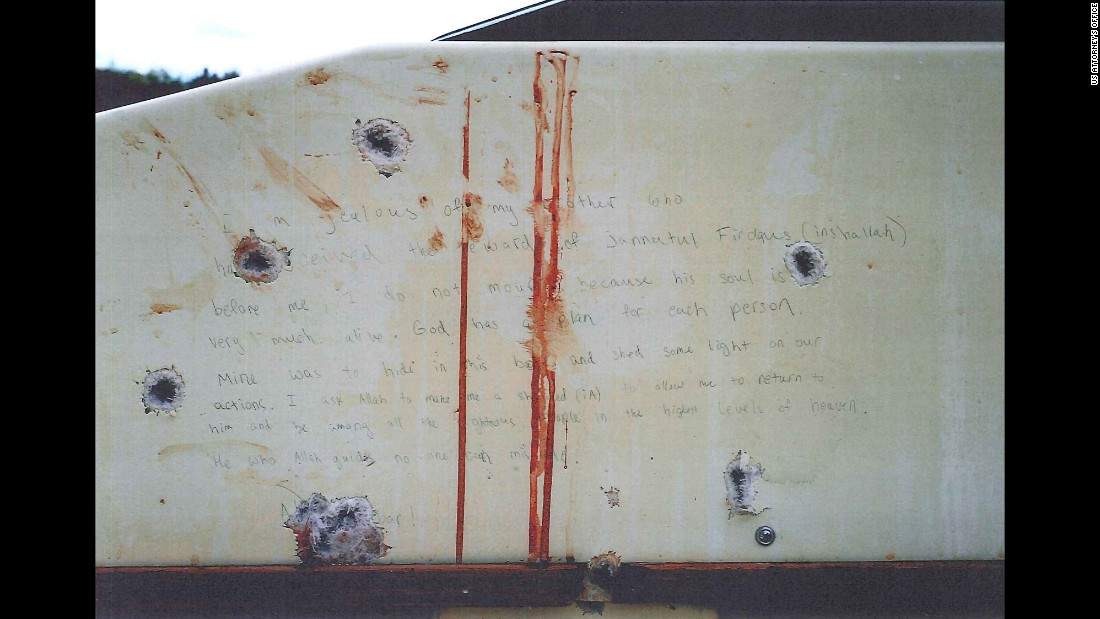 Prosecutors showed the jury photos of what they say are Tsarnaev's writings inside the boat he was captured in.