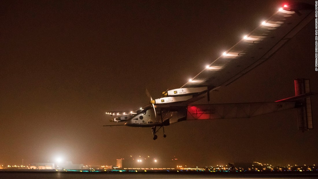 "MARCH 10 - MUSCAT, OMAN: A Swiss<a href=""http://cnn.com/2015/03/08/middleeast/solar-impulse-flight/""> solar-powered plane</a> lands in Oman after it took off from Abu Dhabi early Monday, marking the start of the first attempt to fly around the world without a drop of fuel. Solar Impulse founder Andre Borschberg was at the controls of the single-seater for the 400-kilometer (250 mile) flight."