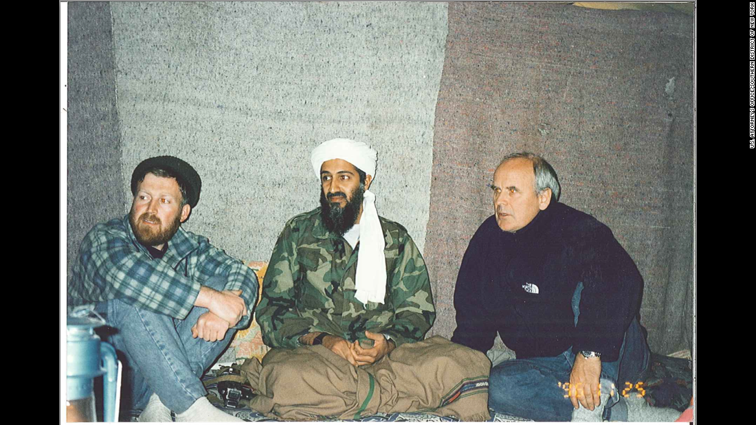 From left, inside bin Laden's cave, are al-Suri, bin Laden and British documentary maker Gwynne Roberts.