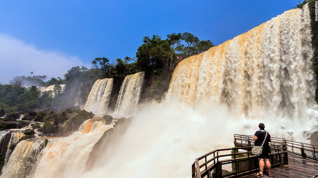 <strong>Iguazu Falls, Argentine-Brazilian border:</strong> On the border between Argentina and Brazil, Iguazu Falls are actually a system of 275 drops that create tiers of waterfalls in a horseshoe shape that's dotted by islands, draped in mist, and linked by rainbows.