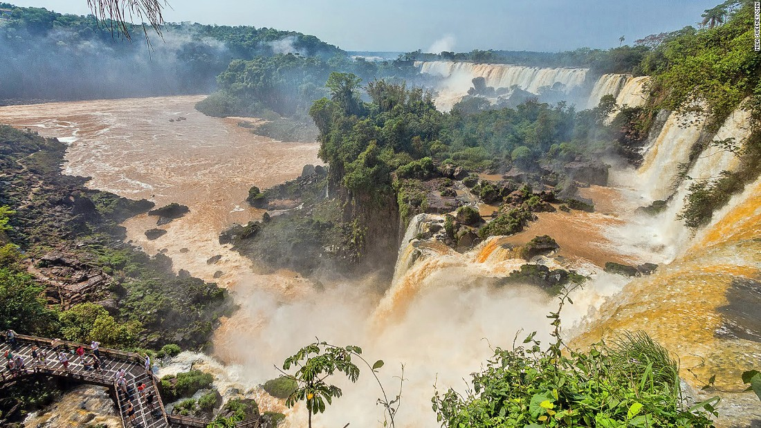 Devil's Throat is the centerpiece of Iguazu Falls, attracting the most visitors. The place to experience the raw power of the cascade, it's 150 meters wide and 700 meters long.