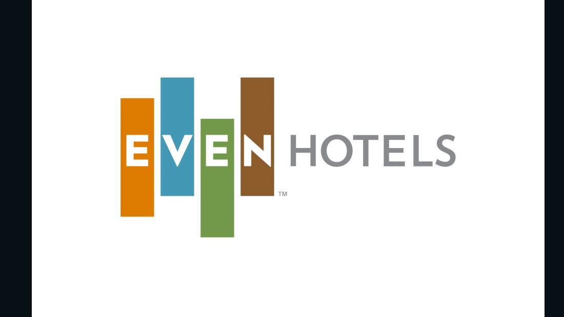 There's a reason those four vertical bars are off-kilter. InterContinental Hotels Group hopes the logo of its newest brand speaks to travelers with a desire for balance. Juxtaposed against the bars, the EVEN letters are composed on a flat horizontal line.