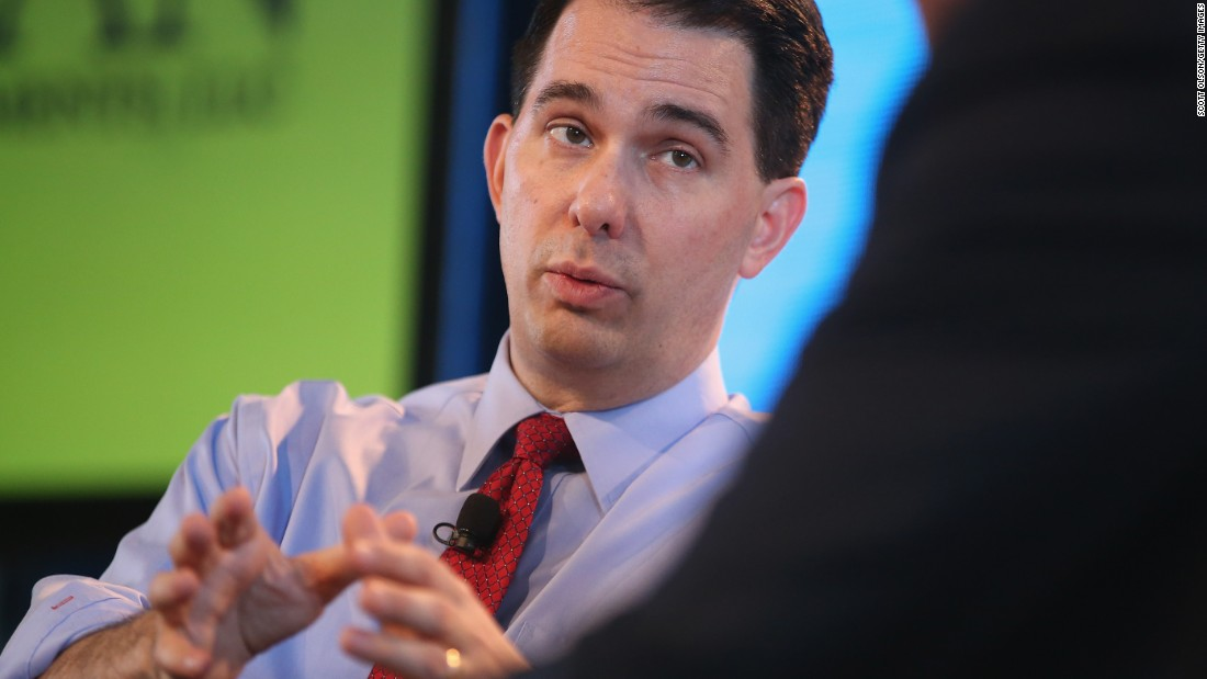 Walker fields questions from Bruce Rastetter at the Iowa Agriculture Summit on March 7, 2015 in Des Moines, Iowa.