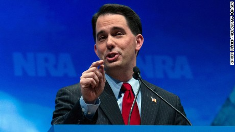 Governor Scott Walker addresses the National Rifle Association (NRA) Leadership Forum on April 13, 2012 in St. Louis, Missouri.