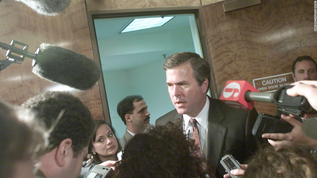 Bush speaks to reporters after meeting with the Florida State Cabinet at the Florida State Capitol Building November 16, 2000, in Tallahassee, Florida.