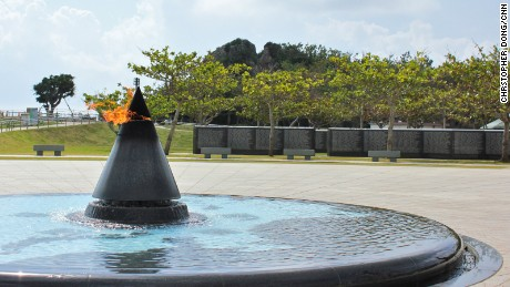 Eternal flame at the Okinawa Prefectural Peace Memorial Museum.