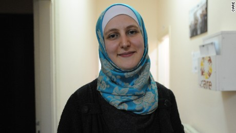 Hiba on her job as case manager at the CARE community center at Azraq Refugee Camp in Jordan.