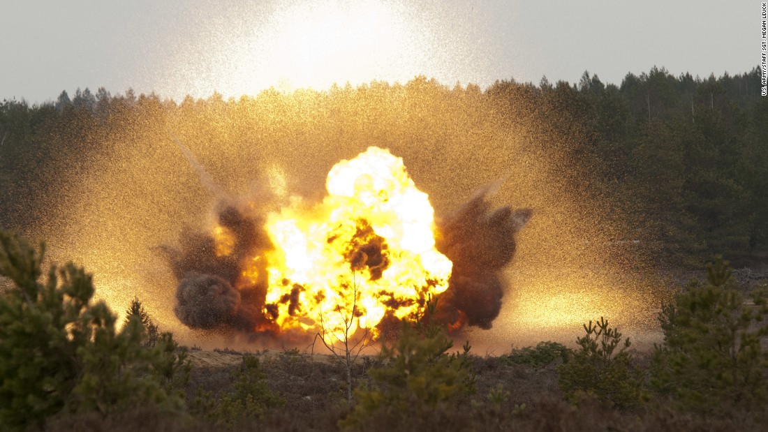 A Bangalore torpedo explodes at a demolition range during a training exercise at Pabrade training area, Lithuania, February 27, 2015. Dragoons of Lightning Troop, 3rd Squadron, 2nd Cavalry Regiment, spent the day learning the process of assembling and detonating makeshift explosives.