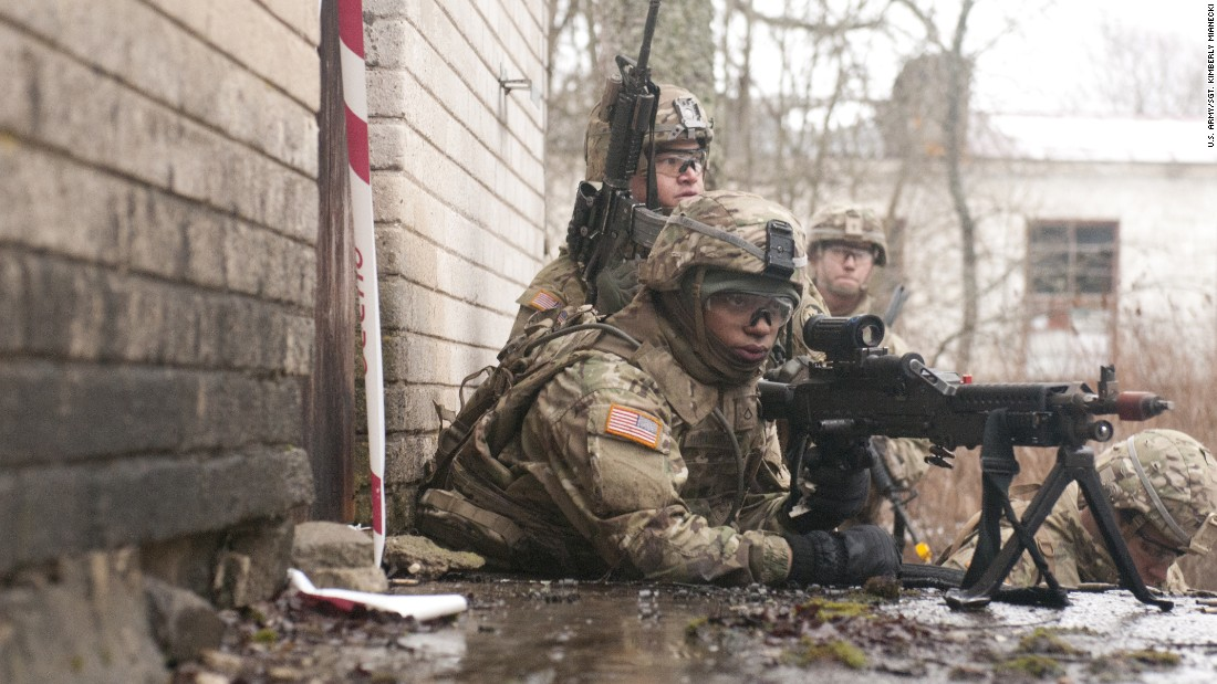 Dragoons from Iron Troop, 3rd Squadron, 2nd Cavalry Regiment, conduct a combined training exercise with Estonian soldiers in support of Operation Atlantic Resolve, March 7, 2015, in Rabassare, Estonia.