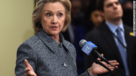 Hillary Clinton answers questions from reporters March 10, 2015 at the United Nations in New York. Clinton admitted that she made a mistake in choosing, for convenience, not to use an official email account while she was Secretary of State.