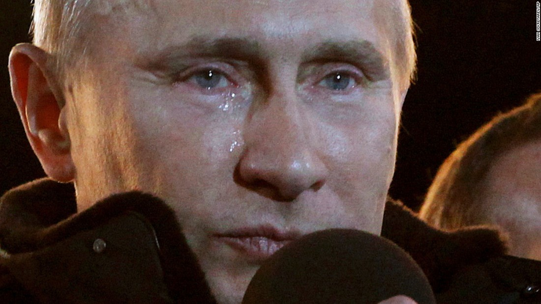 During a massive rally of his supporters in Moscow, tears run down Putin's face in March 2012 after he was elected President for a third term.