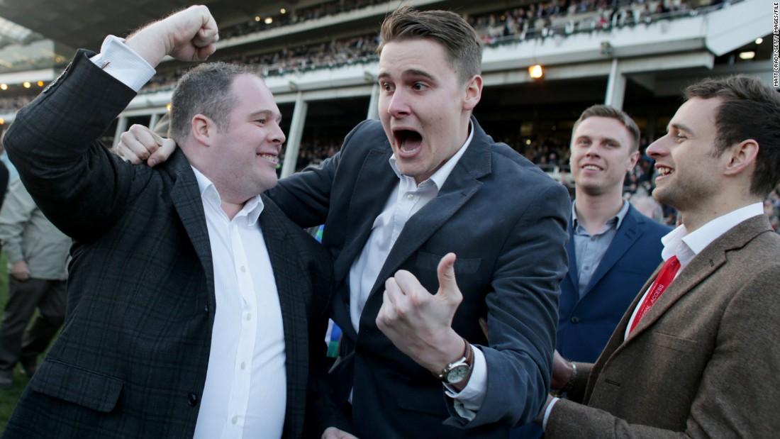 Elation, disbelief, shock. We're not sure how much this young man at England's Cheltenham Festival has just won. But judging by his face, it's enough to warrant the next round of drinks. Cheers!