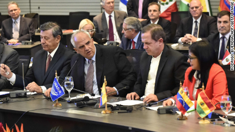 (L to R) Uruguay's Foreign Minister Rodolfo Nin Novoa, UNASUR's Secretary General Ernesto Samper, Ecuador's Foreign Minister Ricardo Patino and Venezuela's Foreign Minister Delcy Rodriguez during a press conference in the UNASUR meeting in Quito, on March 14, 2015. Ecuador called for an UNASUR special meeting to analize the US sanctions on Venezuela and dennounces of destabilization of the government of President Nicolas Maduro. AFP PHOTO / RODRIGO BUENDIA (Photo credit should read RODRIGO BUENDIA/AFP/Getty Images)