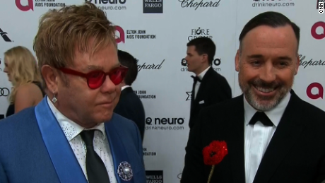 Elton John with partner David Furnish, February 22, 2015