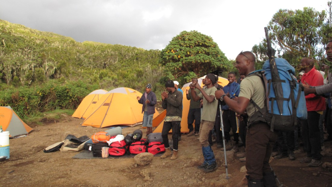 On Day One, the porters and guides welcome the group to their first camp after six-and-a-half hours of hiking. It was an emotional arrival for CNN anchor Brooke Baldwin.