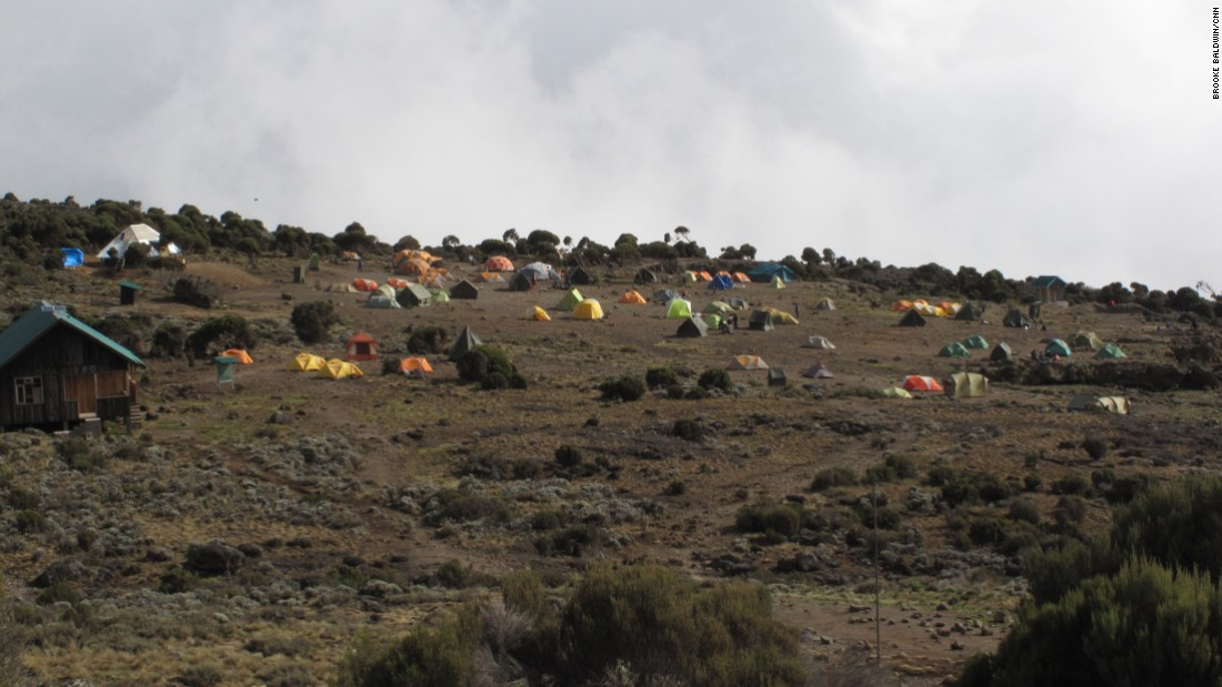 Multiple groups camp on the mountain, all hoping for their piece of the summit on a shower-free trip of a lifetime.