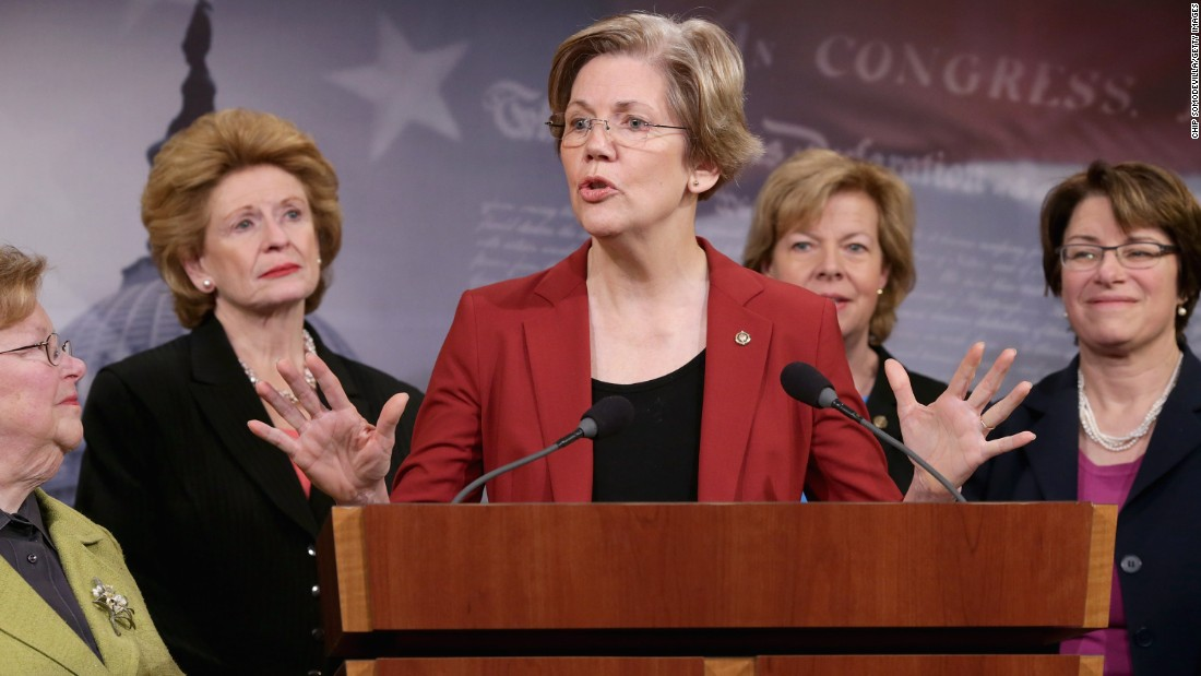 Democratic Senators Barabara Mikulski, Debbie Stabenow, Warren, Tammy Baldwin and Amy Klobuchar at a news conference to announce their support for raising the minimum wage to $10.10 at the U.S. Capitol on January 30, 2014.