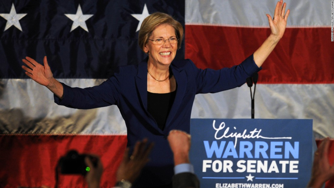 Warren takes the stage for her acceptance speech after beating the incumbent Sen. Scott Brown on November 6, 2012, in Boston, Massachusetts.