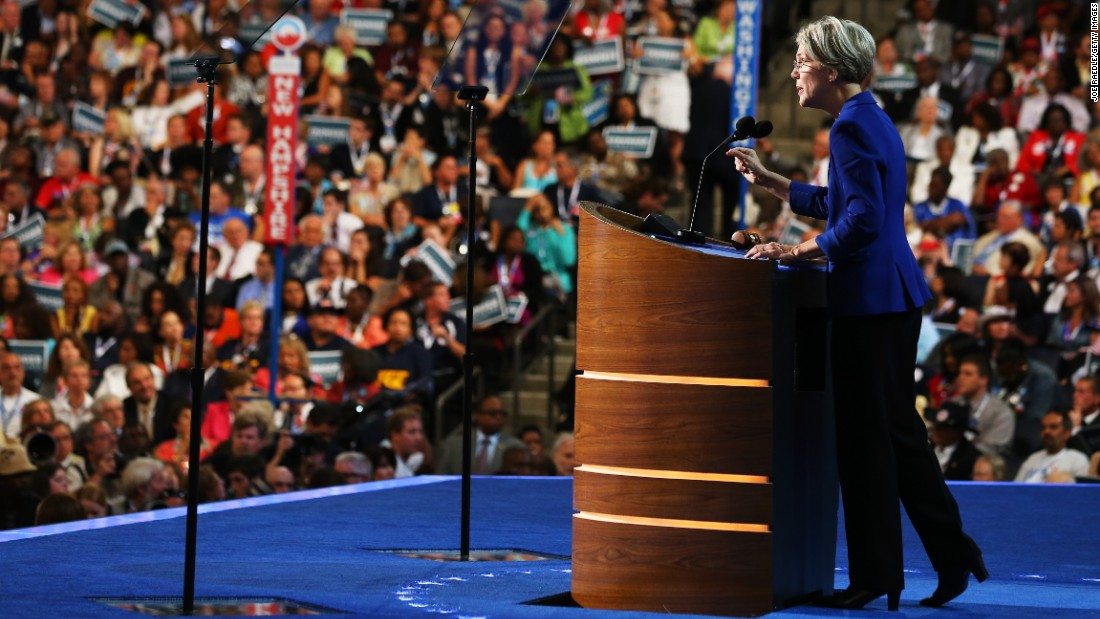 Then-Massachusetts Senatorial candidate Warren speaks at the Democratic National Convention on September 5, 2012, in Charlotte, North Carolina.