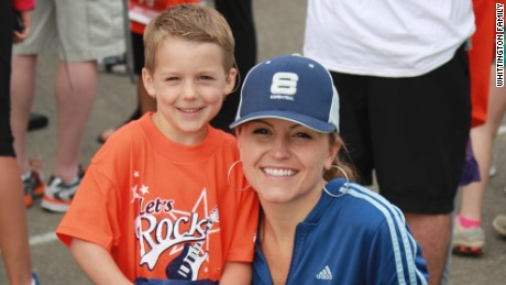 Hillary Whittingon and her son, Ryland, who is now 7.