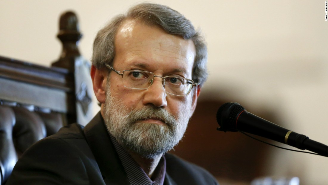 Iran's parliament speaker Ali Larijani listens to a question during a news conference in Tehran on March 16.
