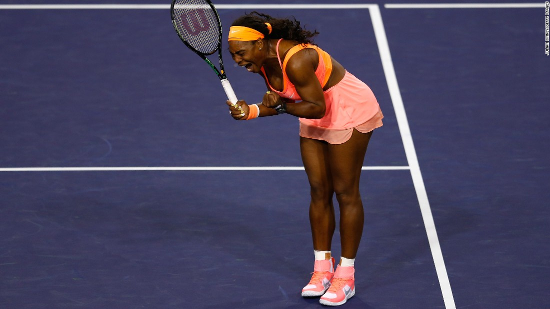 "Serena Williams celebrates Friday, March 13, during her second-round win over Monica Niculescu at the BNP Paribas Open in Indian Wells, California. Williams, the world's No. 1 player, <a href=""http://www.cnn.com/2015/03/14/us/serena-williams-indian-wells-return/"" target=""_blank"">was emotional as she returned to an event she had boycotted since 2001.</a> Fourteen years ago, Williams and her sister were booed at the tournament, and her father told USA Today he was subjected to racial abuse. But in her first match back, Williams was welcomed with more than a minute of applause. ""Receiving the love from the crowd here, it really meant a lot to me,"" she said."