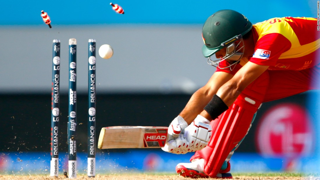 Zimbabwe's Sikandar Raza is bowled out Saturday, March 14, during a Cricket World Cup match against India in Auckland, New Zealand.
