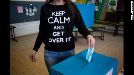 A woman casts her vote in Netanya, Israel.
