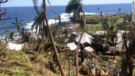A tourist resort battered by Cyclone Pam on Tanna island. Vanuatu's 83 islands are a treasured destination for adventurous foreign tourists...but this is also one of the poorest countries in the Pacific. Many people of Vanuatu are subsistence farmers. The storm destroyed many gardens which people rely on to feed their families.