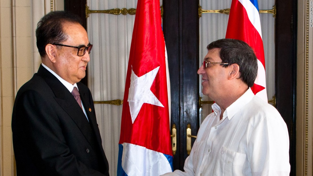 North Korea's Foreign Minister Ri Su Yong is on an international trip this month spanning Belarus, Russia and Cuba. In Havana, Ri met with Cuba's Foreign Minister Bruno Rodriguez. The two Communist countries have maintained ties since 1960s. Cuban media reported that its president Raul Castro also received Ri.