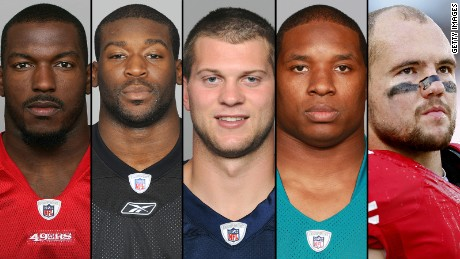 From left, San Francisco's Patrick Willis, Pittsburgh's Jason Worilds, Tennessee's Jake Locker,   Oakland's Maurice Jones-Drew, and 49er's linebacker Chris Borland surprised football fans recently with their early retirements.