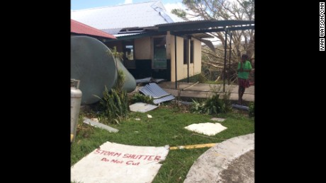 Storm-tossed debris litters the only hospital on Tanna, one of Vanuatu's 83 islands.