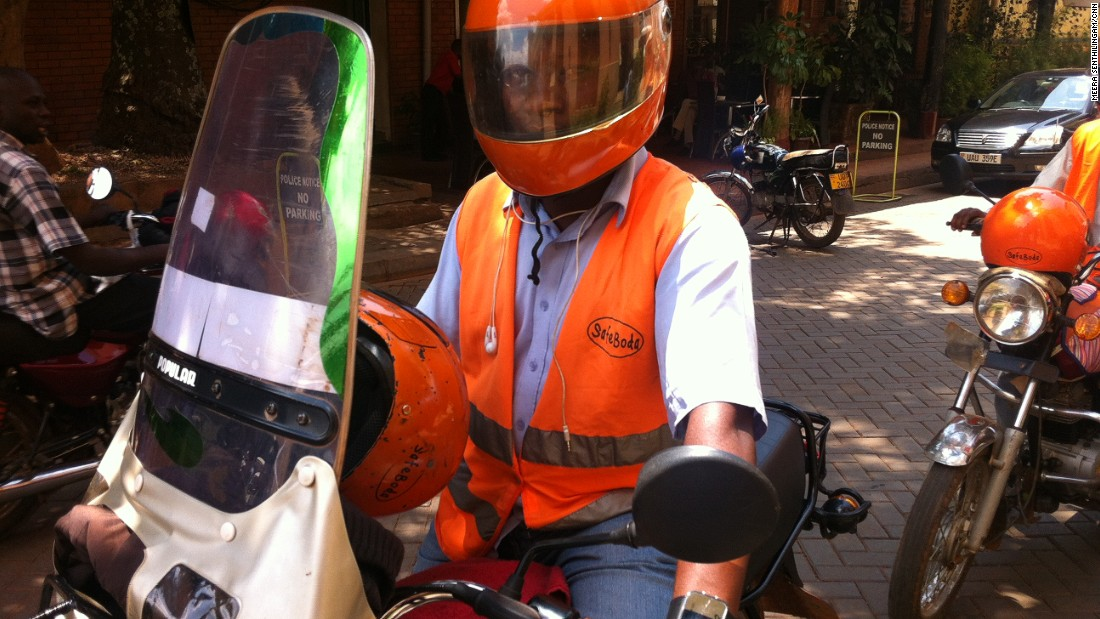 SafeBoda is a new startup providing safe and efficient boda boda rides for those in need of quick travel across the city. Drivers are fully equipped with road safety gear.